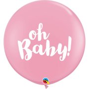 3ft Oh Baby! Pink Latex Balloons (2)