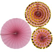 Pattern Works Pink & Gold Paper Fans (3)