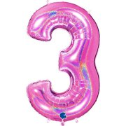 40 inch Holo Glitter Fuchsia Number 3 Foil Balloon (1)