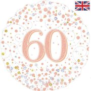 18 inch 60th Birthday White & Rose Gold Fizz Foil Balloon (1)