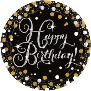 Black & Gold Sparkling Happy Birthday Paper Plates (8)