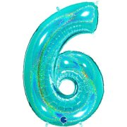 40 inch Holo Glitter Tiffany Blue Number 6 Foil Balloon (1)