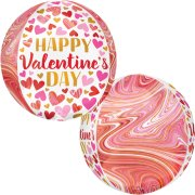 16 inch Orbz Happy Valentine's Day Marbling Foil Balloon (1)