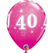 11 inch Wild Berry 40 Sparkle-a-Round Latex Balloons (6)