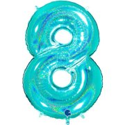40 inch Holo Glitter Tiffany Blue Number 8 Foil Balloon (1)