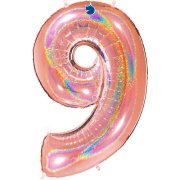 40 inch Holo Glitter Rose Gold Number 9 Foil Balloon (1)