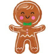 31 inch Happy Gingerbread Man Supershape Foil Balloon (1)