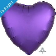 "18"" Purple Royale Satin Heart Foil Balloon (1)"