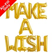 MAKE A WISH - 16 inch Gold Foil Letter Balloon Pack (1)