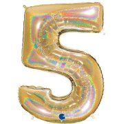 40 inch Holo Glitter Gold Number 5 Foil Balloon (1)