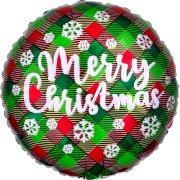 18 inch Green & Red Plaid Merry Christmas Foil Balloon (1)