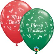 11 inch Christmas Evergreen Red & Green Latex Balloons (25)