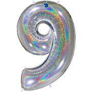 40 inch Holo Glitter Silver Number 9 Foil Balloon (1)