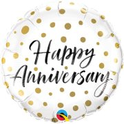 18 inch Happy Anniversary Gold Dots Foil Balloon (1)