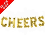 CHEERS - 16 inch Gold Foil Letter Balloon Kit (1)