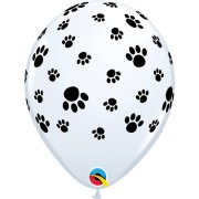 11 inch White Paw Prints-A-Round Latex Balloons (6)