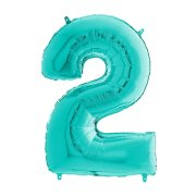 26 inch Tiffany Blue Number 2 Foil Balloon (1)
