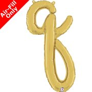 Air-Fill Gold Script Letter Q Foil Balloon (1)