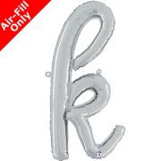 Air-Fill Silver Script Letter K Foil Balloon (1)