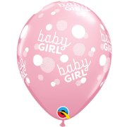 11 inch Baby Girl Dots-A-Round Pink Latex Balloons (6)