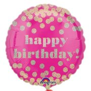 18 inch Pink Dotty Birthday Holographic Foil Balloon (1)
