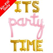 IT'S PARTY TIME - 16 inch Gold Letters & Pink Script Pack (1)