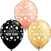 11 inch Happy New Year Dots Assortment Latex Balloons (25)