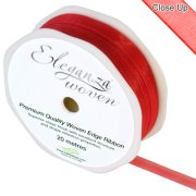 Red Woven Edge Ribbon - 10mm x 20m (1)