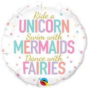 18 inch Unicorns, Mermaids, Fairies Foil Balloon (1)