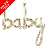 46 inch Baby White Gold Script Foil Balloon (1)