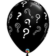 16 inch Question Marks Onyx Black Latex Balloons (50)