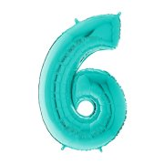 26 inch Tiffany Blue Number 6 Foil Balloon (1)