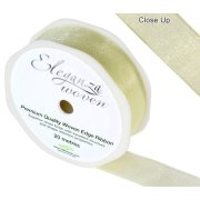 Pale Yellow Woven Edge Ribbon - 25mm x 20m (1)