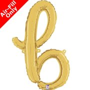 Air-Fill Gold Script Letter B Foil Balloon (1)