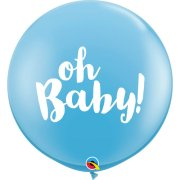 3ft Oh Baby! Blue Latex Balloons (2)