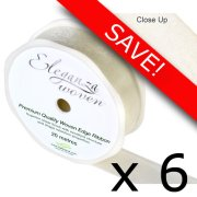 Pack of 6 Ivory Woven Edge Ribbon - 25mm x 20m