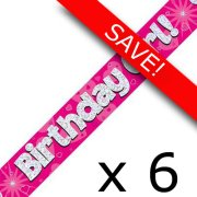 Pack of 6 Birthday Girl Pink Banner - 2.7m