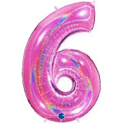 40 inch Holo Glitter Fuchsia Number 6 Foil Balloon (1)