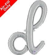 Air-Fill Silver Script Letter D Foil Balloon (1)
