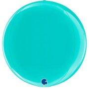 "15"" Globe Tiffany Blue Foil Balloon (1) - UNPACKAGED"