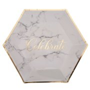 Large Scripted Marble Paper Plates (8)
