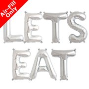 LETS EAT - 16 inch Silver Foil Letter Balloon Pack (1)