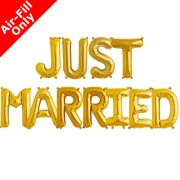 JUST MARRIED - 16 inch Gold Foil Letter Balloon Pack (1)