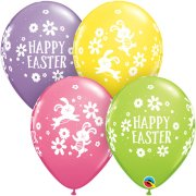 11 inch Easter Bunnies & Daisies Assorted Latex Balloons (25)