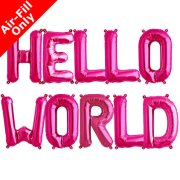 HELLO WORLD - 16 inch Magenta Foil Letter Balloon Pack (1)