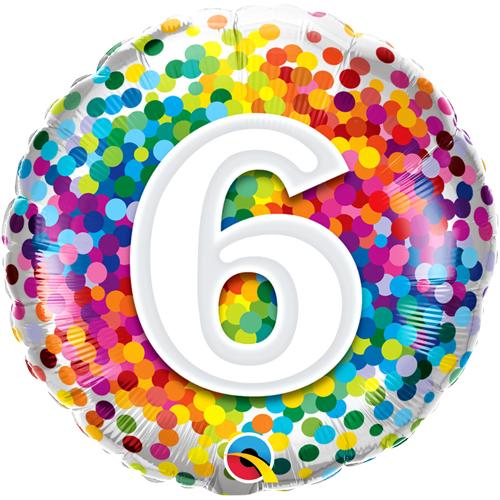 Qualatex Rainbow Confetti Age 10//10th Birthday 18 Inch Foil Balloon