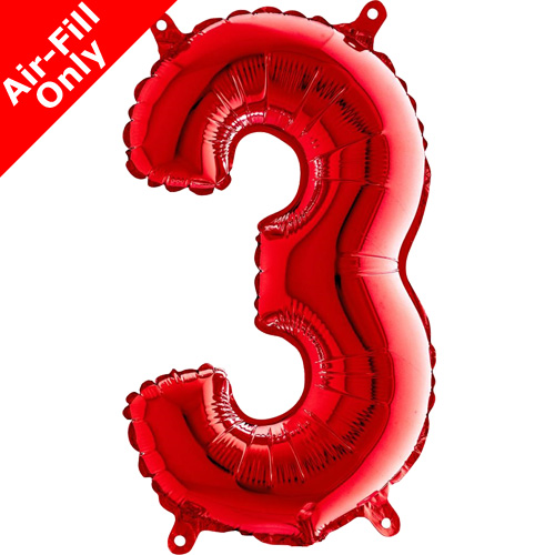 14 Inch Red Number 3 Foil Balloon  1
