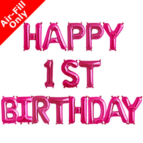 Pink Happy Birthday Letter Balloons.Happy 1st Birthday 16 Inch Magenta Letter Balloon Pack 1