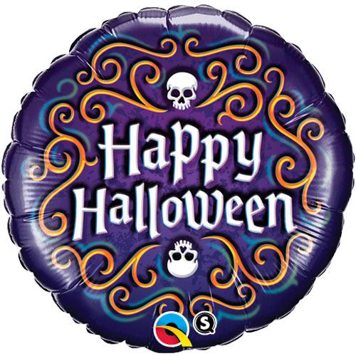 18 Inch Happy Halloween Skeleton Filigree Foil Balloon 1 18 Happy
