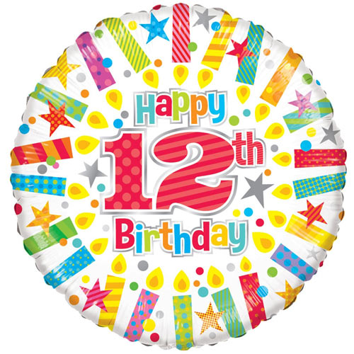 18 Inch 12th Birthday Candles Foil Balloon 1